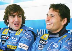 Fernando Alonso (left) with Renault team mate Giancarlo Fisichella