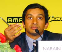 Narain Karthikeyan at a press conference in New Delhi