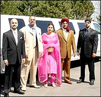 Tiger Jeet Singh, his wife and three sons arrive for the screening