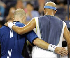 Agassi and Blake walk off court