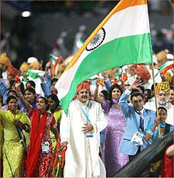 The Indian contingent as the opening ceremony