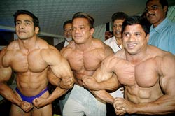 Left to right: Suhas Khamkar (80 kgs), Paresh Mhatre (70 kgs) and Sunil Sakpal (55 kgs) of Maharashtra 'A' after winning gold in their respective weight categories at the 45th Senior National Body Building Championship
