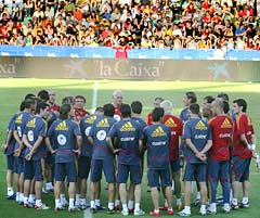 The Spanish football team in training