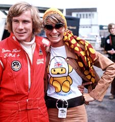 James Hunt with his wife Suzi during the 1974 British Grand Prix