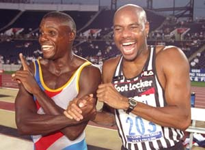 Carl Lewis and Mike Powell at the 1996 Olympics