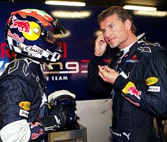 Karun Chandhok (left) chats with David Coulthard