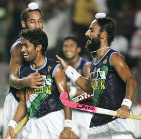 India striker Shivendra Singh celebrates after scoring the goal