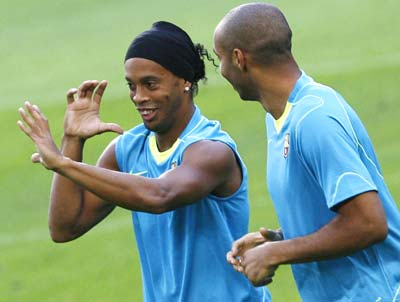 Ronaldinho and Thierry Henry