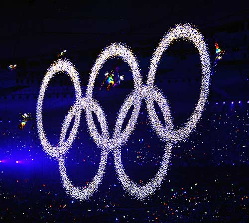 Olympic Rings at Beijing Olympics Opening ceremony