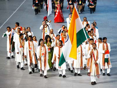 Indian team at beijing olympics _ Rathod bearing the flag
