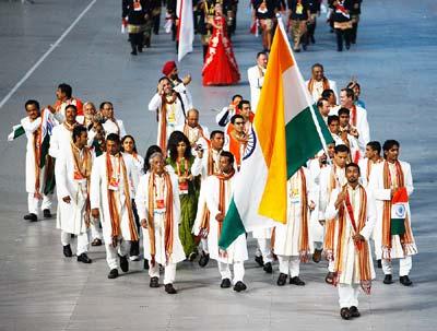 Indian team at beijing olympics _ Rathod bearing the flag