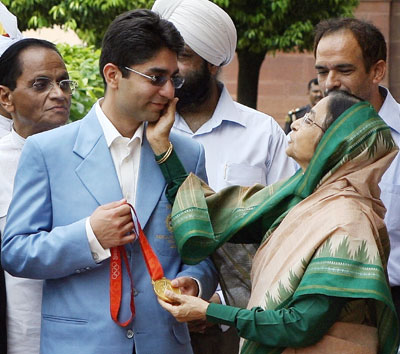 Abhinav Bindra with Indian President Pratibha Patil