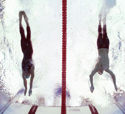 Michael Phelps and Milorad Cavic at the finish