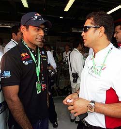 Karun Chandhok with Sachin Tendulkar