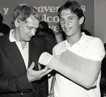 England team manager Bobby Robson (left) is seen examining the bandaged left arm of striker Gary Lineker in the 1986 file picture.