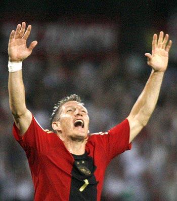 Bastian Schweinsteiger celebrates a goal