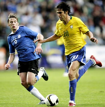 Brazil midfielder Kaka (right) tries to get the ball past Estonia's Aleksandr Dmitrijev