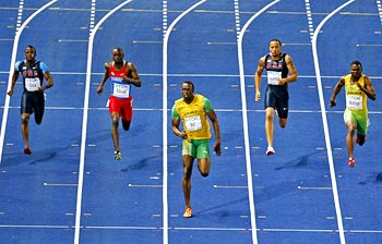 Usain Bolt (centre) sprints to victory in the 200 metres final