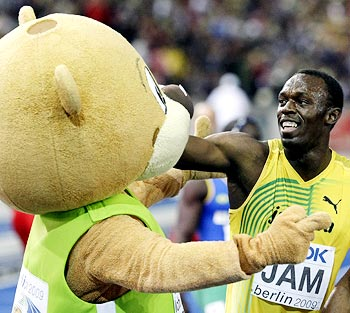 Bolt gets a piece of the Berlin Wall