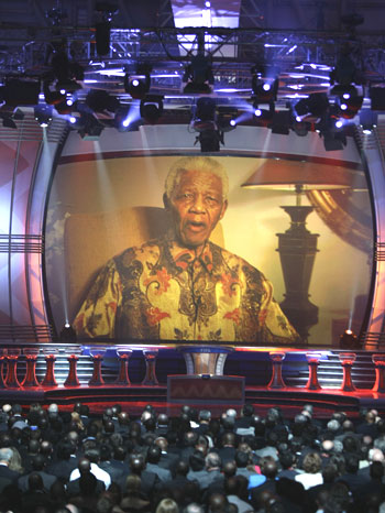 Former South African president Nelson Mandela addresses the guests ahead of the 2010 World Cup draw in Cape Town on Friday