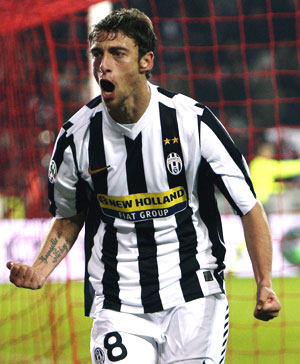 Juventus's Marchisio celebrates after scoring against Inter Milan on Saturday