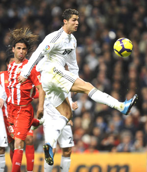 Cristiano Ronaldo in action against Almeira