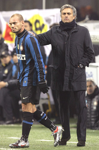 Inter Milan's coach Jose Mourinho (right) and Wesley Sneijder