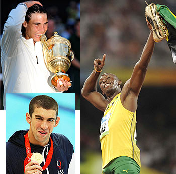 Rafael Nadal, Usain Bolt and Michael Phelps
