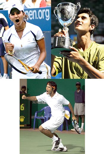 Sania Mirza, Yuki Bhambri and Somdev Devvarman