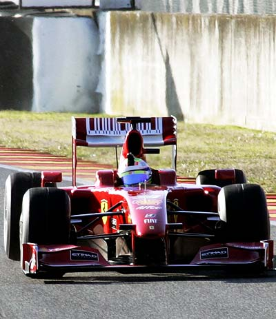 Felipe Massa tests the new Ferrari F60 car