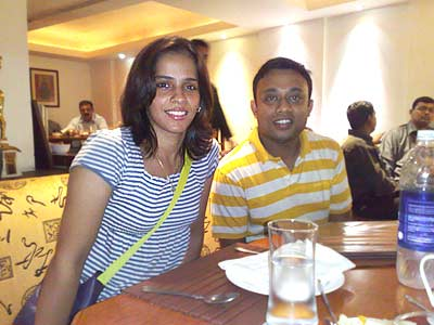 Saina Nehwal with Rediff reader Saurav