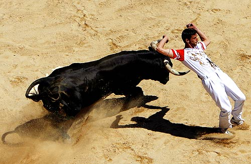 A recortador performs with a fighting bull