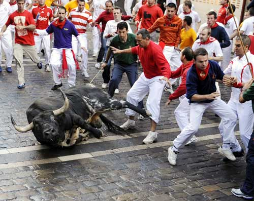 A Dolores Aguirre fighting bull falls on the Estafeta corner on the fifth day of the bull run festival