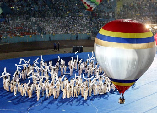 Israeli artists perform during the opening ceremony