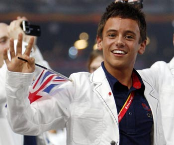 Tom Daley of Britain walks with his team mates during the opening ceremony of the Beijing Olympics