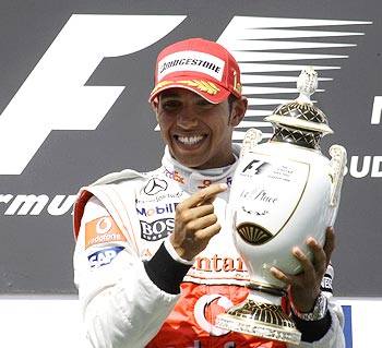 Lewis Hamilton celebrates winning the Hungarian Grand Prix