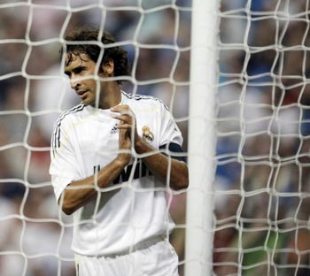 Real Madrid's Raul Gonzalez reacts during their Peace Cup match against Al Ittihad at Santiago Bernabeu stadium in Madrid