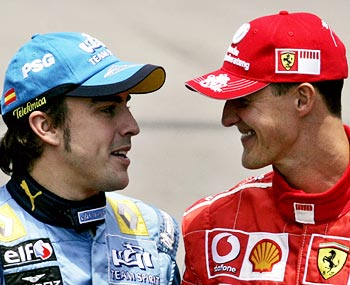 Michael Schumacher (right) with Fernando Alonso