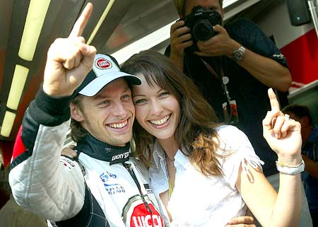 Jenson Button with his girlfriend Louise Griffiths