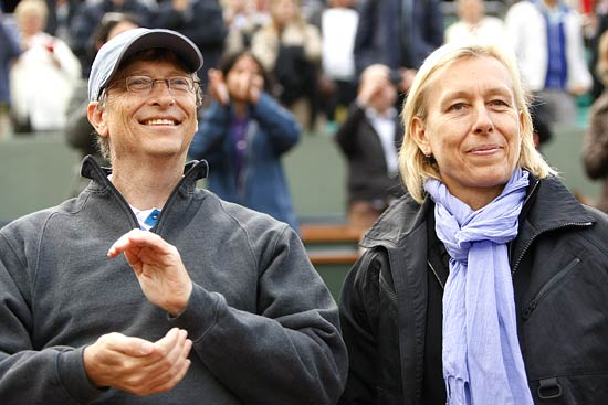 Microsoft founder Bill Gates and tennis legend Martina Navratilova
