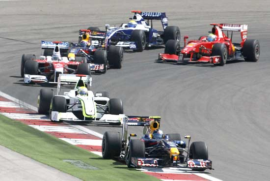 Sebastian Vettel leads the pack