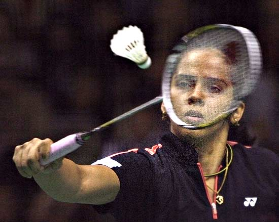 Saina Nehwal in action against China's Wang Lin