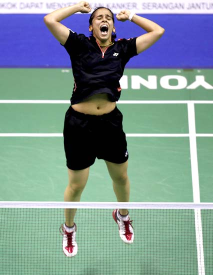 Saina Nehwal exults after winning the final