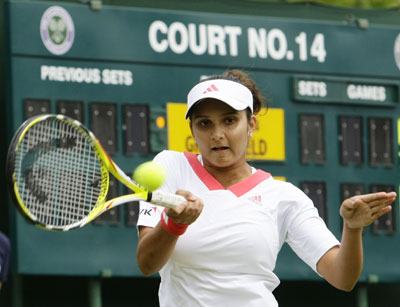 Sania Mirza at Wimbledon on Monday