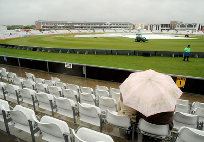 Rains delay a cricket match.