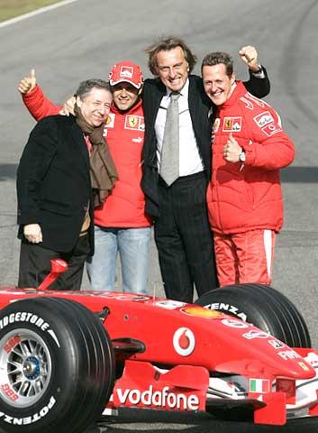 L to R: Ferrari's team manager Jean Todt, Brazilian driver Felipe Massa, Chairman Luca Cordero di Montezemolo, and Michael Schumacher