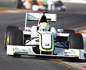 Brawn GP driver Jenson Button in action