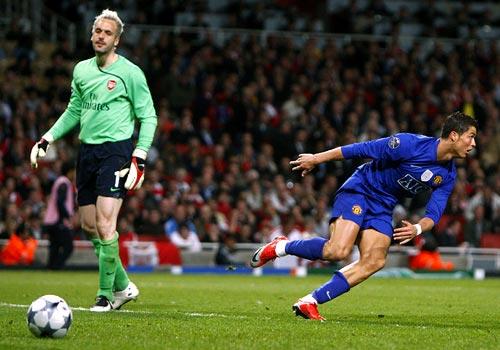 Ronaldo celebrates scoring the third goal