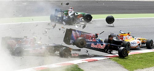 A four-car crash on the opening lap