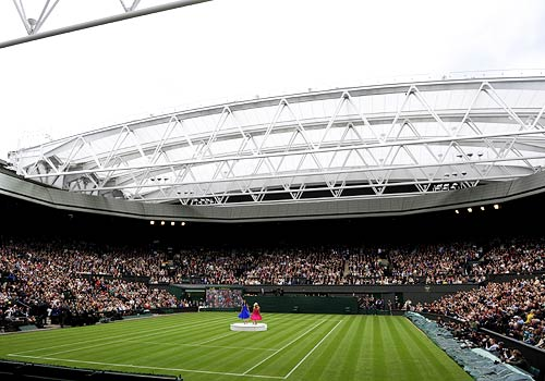 A view of the retractable roof over Centre Court